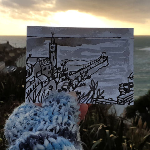 #12,Porthleven,|,Postcard,Project,polurrian, original art, affordable art, mini art, postcard art, the lizard, art project, cornwall, artist, cornish art, poltesco