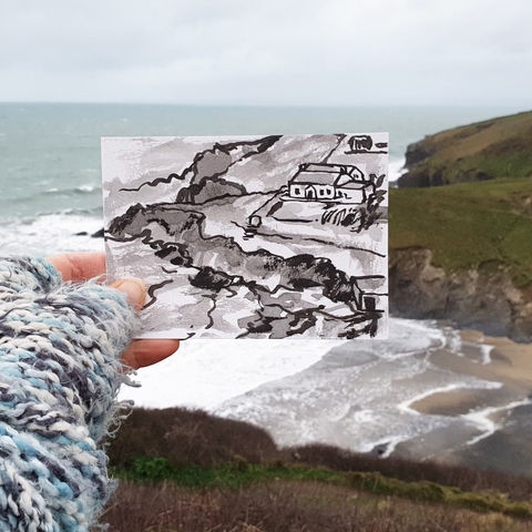 #13,Polurrian,Cove,|,Postcard,Project,polurrian, original art, affordable art, mini art, postcard art, the lizard, art project, cornwall, artist, cornish art, poltesco