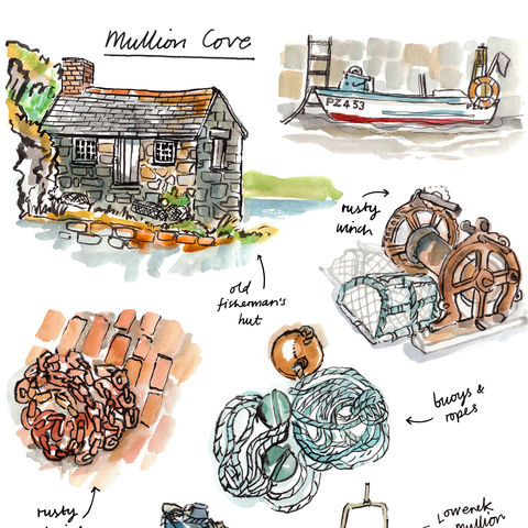 Mullion,Cove,A4,print,by,Melanie,Chadwick,mullion, cornwall, sketchbook, print