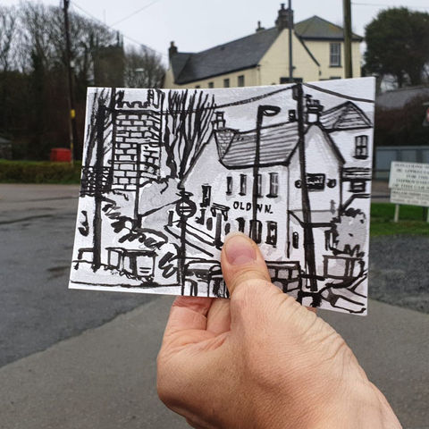 #14,The,Old,Inn,,Mullion,|,Postcard,Project,the old inn, mullion, original art, affordable art, mini art, postcard art, the lizard, art project, cornwall, artist, cornish art, poltesco