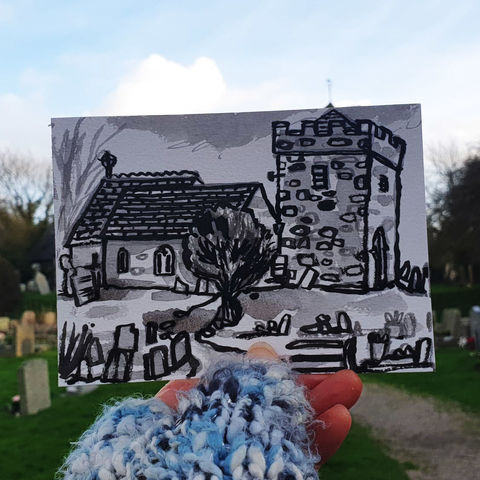 #15,St.,Ruan,,Ruan,Minor,|,Postcard,Project,ruan minor, st. ruan, st. rumon, celtic, original art, affordable art, mini art, postcard art, the lizard, art project, cornwall, artist, cornish art, poltesco