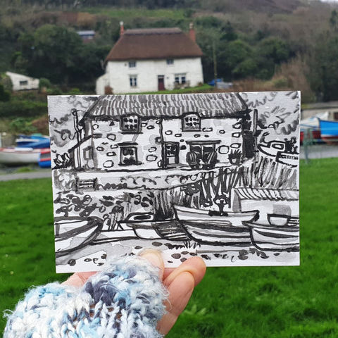 #16,Thatched,Cottage,,Porthoustock,,Lizard,Peninsula,|,Postcard,Project,porthoustock, thatched cottage, original art, affordable art, mini art, postcard art, the lizard, art project, cornwall, artist, cornish art, poltesco