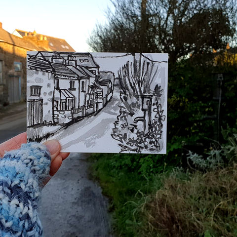 #19,Pump,at,White,Cross,,Cury,,Cornwall,|,Postcard,Project,cury, whitecross, cury crosslanes, cornish village, original art, affordable art, mini art, postcard art, the lizard, art project, cornwall, artist, cornish art, poltesco