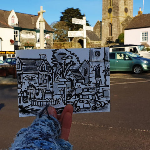 #21,The,Square,,St.,Keverne,,Cornwall,|,Postcard,Project,st. keverne, cornish village, original art, affordable art, mini art, postcard art, the lizard, art project, cornwall, artist, cornish art, poltesco