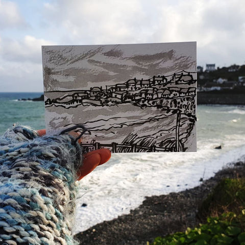 #23,Coverack,Coastline,Cornwall,|,Postcard,Project,coverack, coastline, harbour, cornish village, original art, affordable art, mini art, postcard art, the lizard, art project, cornwall, artist, cornish art, poltesco