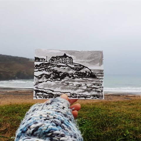 #22,Poldhu,Beach,,Swallowcourt,,Cornwall,|,Postcard,Project,poldhu, poldhu beach, swallowcourt, cornish village, original art, affordable art, mini art, postcard art, the lizard, art project, cornwall, artist, cornish art, poltesco