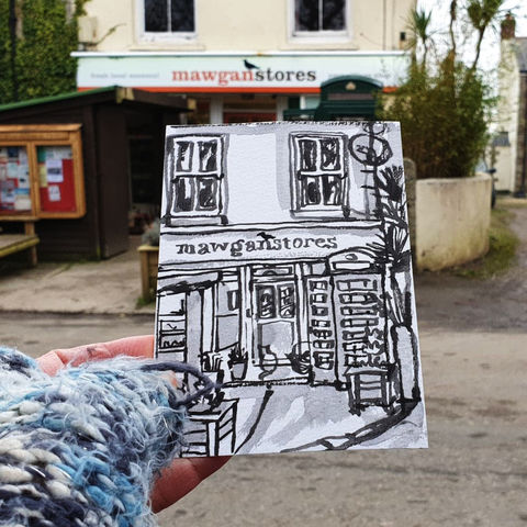 #24,Mawgan,Stores,,Mawgan,,Cornwall,|,Postcard,Project,mawgan stores, mawgan, cornish village, sketch artist, sketchbook, original art, affordable art, mini art, postcard art, the lizard, art project, cornwall, artist, cornish art