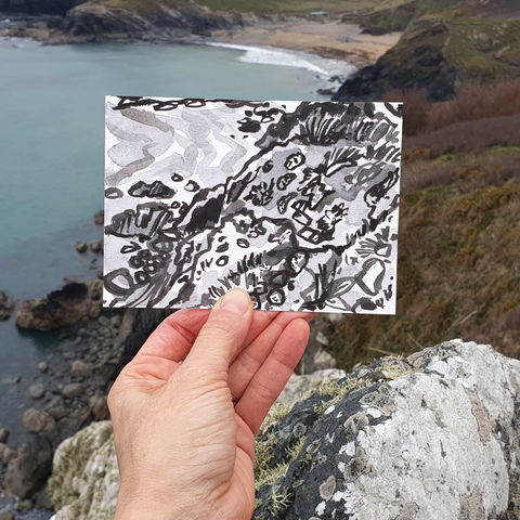#82,Carrag-Luz,,Love,Rock,,Polurrian,Cove,,Lizard,Peninsula,,Cornwall,|,Postcard,Project,carrag-luz, love rock, polurrian cove, sketch artist, sketchbook, original art, affordable art, mini art, postcard art, the lizard, art project, cornwall, artist, cornish art