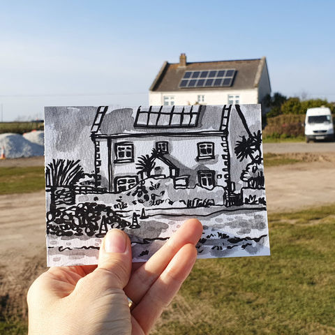 #83,Chapel,House,,Lizard,Green,,Village,,Cornwall,|,Postcard,Project,lizard peninsula, chapel house, sketch artist, sketchbook, original art, affordable art, mini art, postcard art, the lizard, art project, cornwall, artist, cornish art