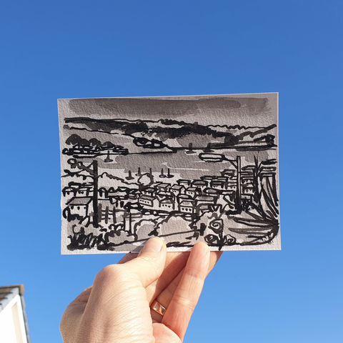 #85,/,No.,2,View,from,my,window,,Sonja's,view,,Penryn,,Cornwall,,UK,|,Postcard,Project,cornwall, penryn, sketch artist, sketchbook, original art, affordable art, mini art, postcard art, the lizard, art project, cornwall, artist, cornish art
