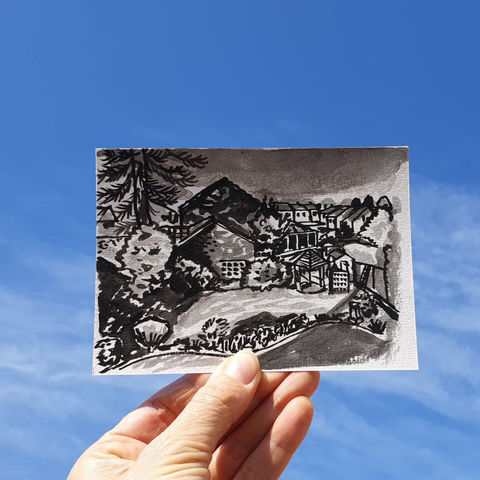 #87,/,No.,4,View,from,my,window,,Catriona's,view,,Redhill,,UK,|,Postcard,Project,redhill, surrey,  sketch artist, sketchbook, original art, affordable art, mini art, postcard art, the lizard, art project, cornwall, artist, cornish art