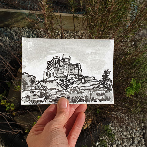 #91,/,No.,8,View,from,my,window,,Iris's,view,,St.,Michael's,mount,,Cornwall,cornwall, st michaels mount, garden, sketch artist, sketchbook, original art, affordable art, mini art, postcard art, the lizard, art project, cornwall, artist, cornish art