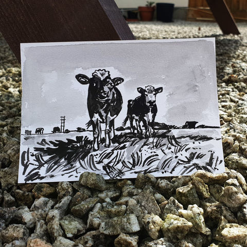 #93,/,No.,10,View,from,my,window,,Rozenwyn's,view,,Top,field,,Treloskan,Farm,,Cornwall,cows, farm, treloskan, sketch artist, sketchbook, original art, affordable art, mini art, postcard art, the lizard, art project, cornwall, artist, cornish art