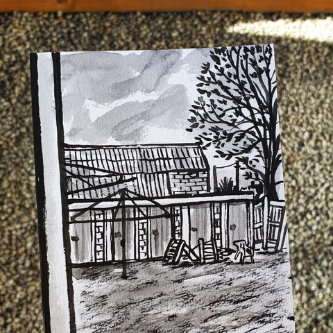 #94,/,No.,11,View,from,my,window,,Alana's,view,,Redhill,,Surrey,redhill, playthings, sketch artist, sketchbook, original art, affordable art, mini art, postcard art, the lizard, art project, cornwall, artist, cornish art