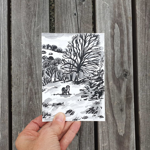 #96,/,No.,13,View,from,my,window,,Josi's,view,,Churnet,Valley,,Staffordshire,staffordshire, churnet valley, sketch artist, sketchbook, original art, affordable art, mini art, postcard art, the lizard, art project, cornwall, artist, cornish art