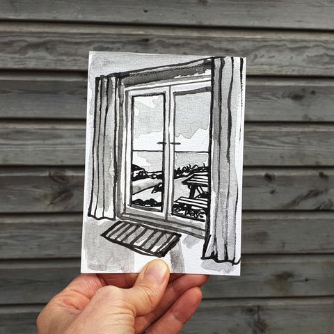 #98/,No.,15,View,from,my,window,,Chris's,view,,Predannack,Wollas,,The,Lizard,lizard, mullion, predannack, sketch artist, sketchbook, original art, affordable art, mini art, postcard art, the lizard, art project, cornwall, artist, cornish art