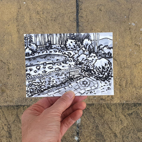 #100/,No.,17,View,from,my,window,,Mary's,view,,Eastbourne,eastbourne, sketch artist, sketchbook, original art, affordable art, mini art, postcard art, the lizard, art project, cornwall, artist, cornish art