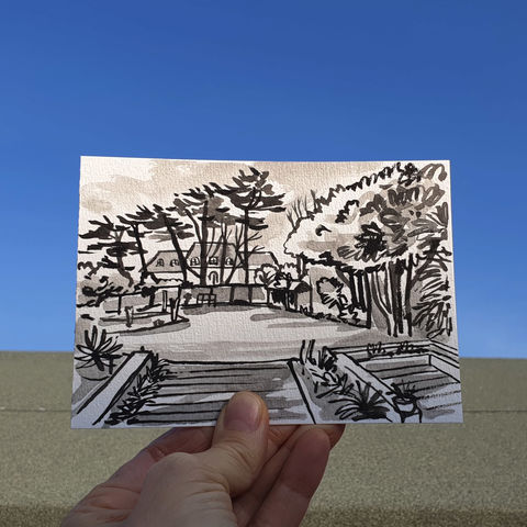 #101/,No.,18,View,from,my,window,,Emma's,view,,Teddington,teddington, sketch artist, sketchbook, original art, affordable art, mini art, postcard art, the lizard, art project, cornwall, artist, cornish art