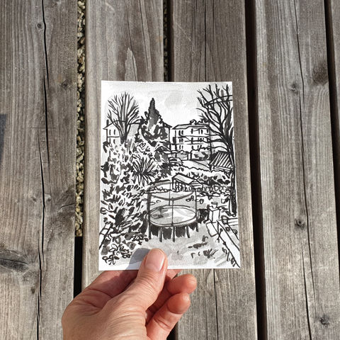 #102/,No.,19,View,from,my,window,,Lily's,view,,Bristol,bristol, sketch artist, sketchbook, original art, affordable art, mini art, postcard art, the lizard, art project, cornwall, artist, cornish art