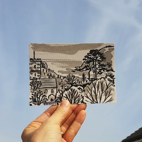 #103/,No.,20,View,from,my,window,,Jules,and,James',view,,Looe,|,Cornwall,Talland bay, sketch artist, sketchbook, original art, affordable art, mini art, postcard art, the lizard, art project, cornwall, artist, cornish art