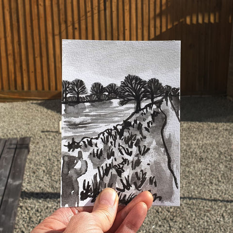 #105/,No.,22,View,from,my,window,,Rebecca's,view,,River,Trent,river trent, sketch artist, sketchbook, original art, affordable art, mini art, postcard art, the lizard, art project, cornwall, artist, cornish art
