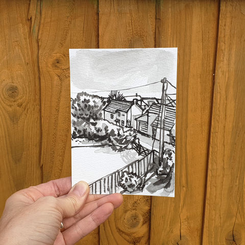 #107/,No.,24,View,from,my,window,,Zoe's,view,,Ashton,,Cornwall,ashton, cornwall, sketch artist, sketchbook, original art, affordable art, mini art, postcard art, the lizard, art project, artist, cornish art