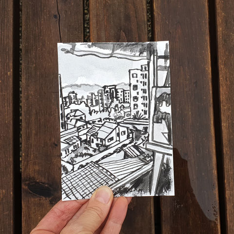 #108/,No.,25,View,from,my,window,,Natasha's,view,,Cochabamba,,Bolivia,cochabamba, sketch artist, sketchbook, original art, affordable art, mini art, postcard art, art project, artist, cornish art