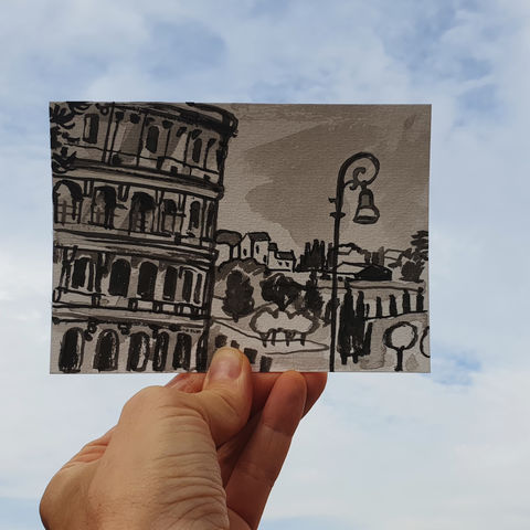 #111/,No.,3,Armchair,Travel,,The,Colosseum,,Rome,,Italy, colosseum, rome, Coliseum, Flavian Amphitheatre, sketch artist, sketchbook, original art, affordable art, mini art, postcard art, art project, artist, cornish art
