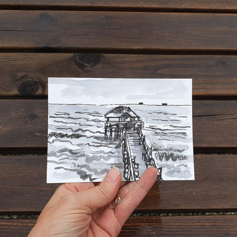 #120/,No.,12,Armchair,Travel,,Cocoa,Beach,Pier,,Florida,,USA,florida, cocoa beach pier, pier, sketch artist, sketchbook, original art, affordable art, mini art, postcard art, art project, artist, cornish art
