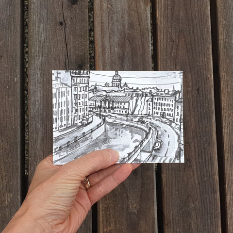 #124/,No.,16,Armchair,Travel,,Griboyedov,Canal,,St.,Petersburg,,Russia,griboyedov canal, st. petersburg, russia, sketch artist, sketchbook, original art, affordable art, mini art, postcard art, art project, artist, cornish art