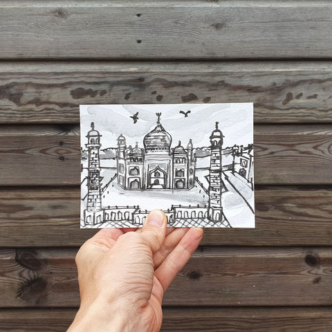 #126/,No.,18,Armchair,Travel,,Taj,Mahal,,India,taj mahal, sketch artist, sketchbook, original art, affordable art, mini art, postcard art, art project, artist, cornish art