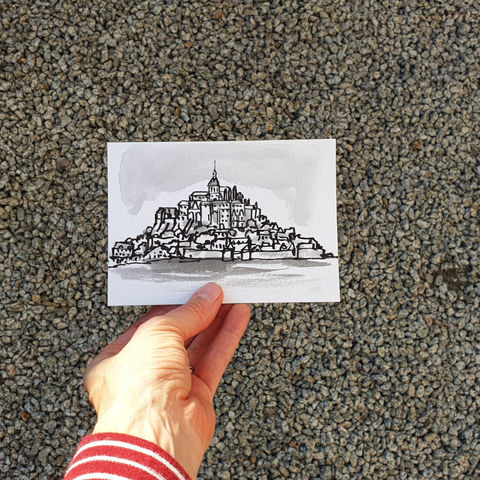 #129/,No.,21,Armchair,Travel,,Mont-Saint-Michel,mont saint michel, california, sketch artist, sketchbook, original art, affordable art, mini art, postcard art, art project, artist, cornish art