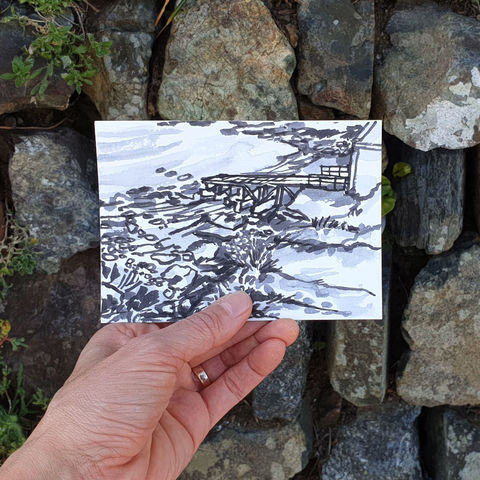 #132/,No.,3,Polpeor,Cove,,Lizard,Peninsula,polpeor, lizard peninsula, sketch artist, sketchbook, original art, affordable art, mini art, postcard art, art project, artist, cornish art