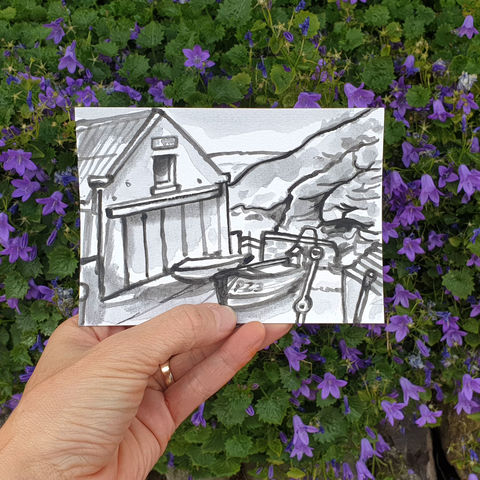 #133/,No.,4,Polpeor,Cove,,Lizard,Peninsula,polpeor, lizard peninsula, sketch artist, sketchbook, original art, affordable art, mini art, postcard art, art project, artist, cornish art