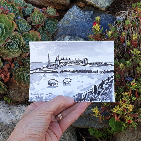 #136/,No.,7,Lizard,Lighthouse,,Point,,Peninsula,polpeor, lizard peninsula, sketch artist, sketchbook, original art, affordable art, mini art, postcard art, art project, artist, cornish art