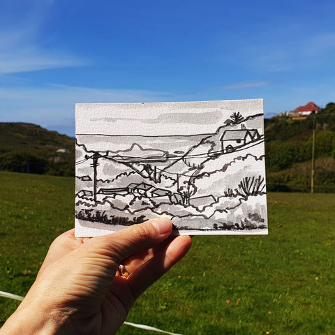 #138,Mullion,Island,,Mullion,,Lizard,Peninsula,youth hostel, lizard peninsula, sketch artist, sketchbook, original art, affordable art, mini art, postcard art, art project, artist, cornish art