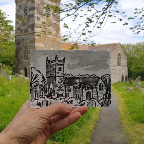 #139,St.,Wynwallow,,Landewednack,,Lizard,Peninsula,landewednack, lizard peninsula, sketch artist, sketchbook, original art, affordable art, mini art, postcard art, art project, artist, cornish art