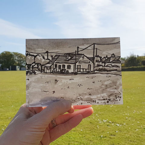 #140,Cricket,Club,,Mullion,,Lizard,Peninsula,mullion, lizard peninsula, sketch artist, sketchbook, original art, affordable art, mini art, postcard art, art project, artist, cornish art
