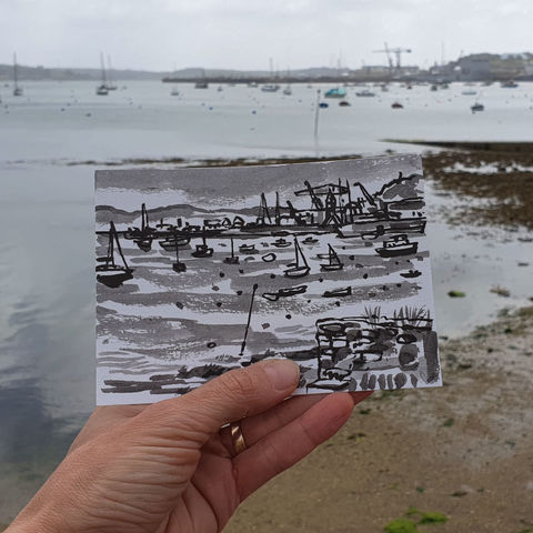 #143,Falmouth,quay,and,docks,,falmouth, sketch artist, sketchbook, original art, affordable art, mini art, postcard art, art project, artist, cornish art