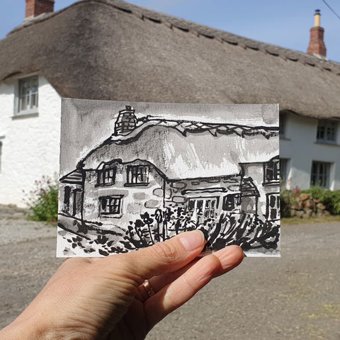 #144,Thatch,Cottage,,Mullion,,Lizard,Peninsula,mullion, sketch artist, sketchbook, original art, affordable art, mini art, postcard art, art project, artist, cornish art