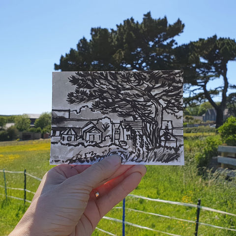 #146,Chocolate,Factory,and,Pine,tree,,Mullion,,Lizard,Peninsula,mullion, sketch artist, sketchbook, original art, affordable art, mini art, postcard art, art project, artist, cornish art
