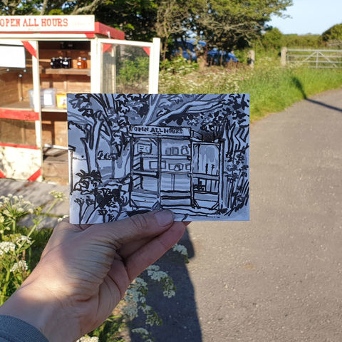 #147,Open,all,hours,,Predannack,,Lizard,Peninsula,mullion, sketch artist, sketchbook, original art, affordable art, mini art, postcard art, art project, artist, cornish art
