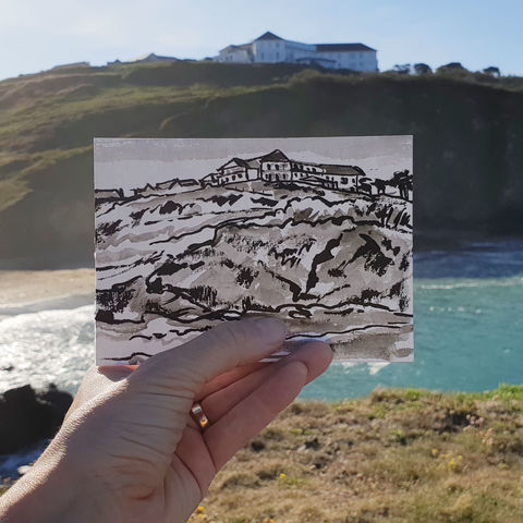 #148,Polurrian,Hotel,,Polurrian,,Mullion,,Lizard,Peninsula,polurrian, mullion, sketch artist, sketchbook, original art, affordable art, mini art, postcard art, art project, artist, cornish art
