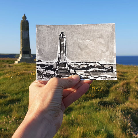 #149,Marconi,Monument,,Poldhu,,Mullion,,Lizard,Peninsula,poldhu, mullion, sketch artist, sketchbook, original art, affordable art, mini art, postcard art, art project, artist, cornish art
