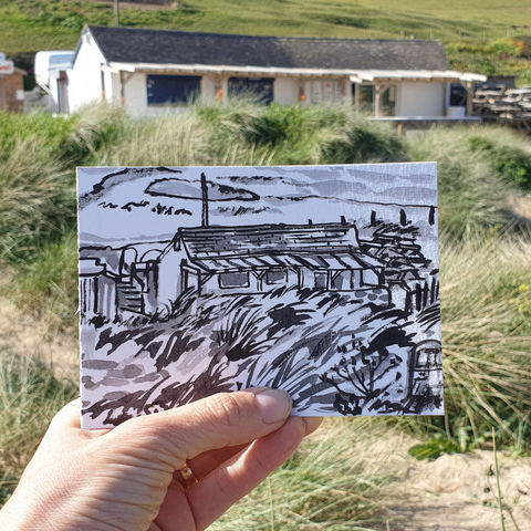 #150,Poldhu,beach,cafe,,Poldhu,,Mullion,,Lizard,Peninsula,poldhu beach cafe, poldhu, mullion, sketch artist, sketchbook, original art, affordable art, mini art, postcard art, art project, artist, cornish art