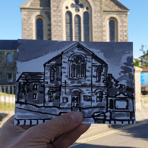 #151,Mullion,Methodist,Chapel,,Mullion,,Lizard,Peninsula,mullion chapel, mullion, sketch artist, sketchbook, original art, affordable art, mini art, postcard art, art project, artist, cornish art