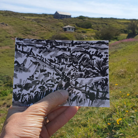 #152,Small,hut,,Predannack,Woolas,,Lizard,Peninsula,predannack, sketch artist, sketchbook, original art, affordable art, mini art, postcard art, art project, artist, cornish art