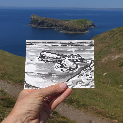 #154,Mullion,Island,,Lizard,Peninsula,mullion island, sketch artist, sketchbook, original art, affordable art, mini art, postcard art, art project, artist, cornish art
