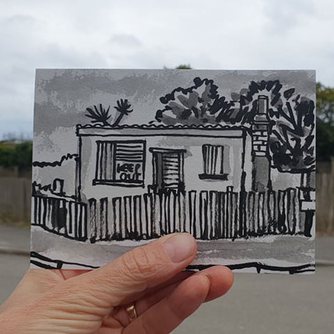 #156,abandoned,building,,Mullion,,Lizard,Peninsula,abandoned building, sketch artist, sketchbook, original art, affordable art, mini art, postcard art, art project, artist, cornish art