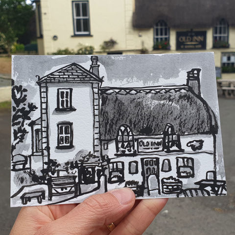 #157,The,Old,Inn,,Mullion,,Lizard,Peninsula,the old inn, mullion, sketch artist, sketchbook, original art, affordable art, mini art, postcard art, art project, artist, cornish art